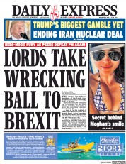 Daily Express (UK) Newspaper Front Page for 9 May 2018