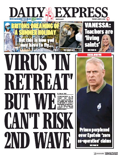 Daily Express Newspaper Front Page (UK) for 9 June 2020