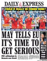 Daily Express (UK) Newspaper Front Page for 9 July 2018