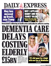 Daily Express (UK) Newspaper Front Page for 9 July 2019