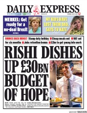 Daily Express front page for 9 July 2020