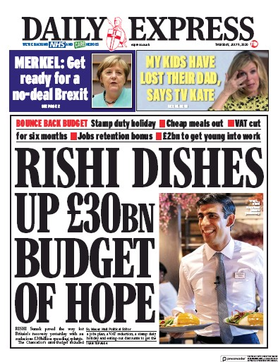 Daily Express Newspaper Front Page (UK) for 9 July 2020