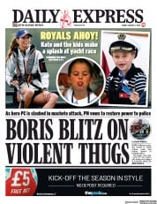 Daily Express (UK) Newspaper Front Page for 9 August 2019