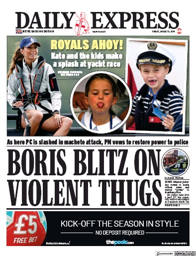 Daily Express Newspaper Front Page (UK) for 9 August 2019