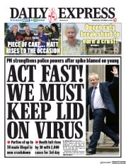 Daily Express (UK) Newspaper Front Page for 9 September 2020