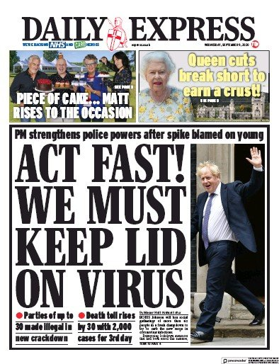 Daily Express Newspaper Front Page (UK) for 9 September 2020