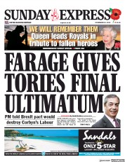 Daily Express Sunday (UK) Newspaper Front Page for 10 November 2019