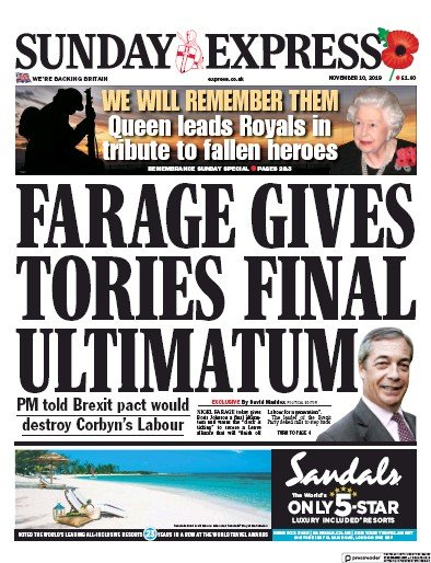 Daily Express Sunday Newspaper Front Page (UK) for 10 November 2019