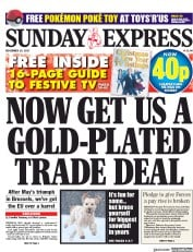 Daily Express Sunday (UK) Newspaper Front Page for 10 December 2017