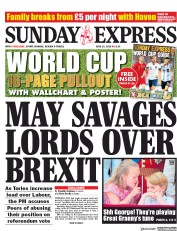 Daily Express Sunday (UK) Newspaper Front Page for 10 June 2018