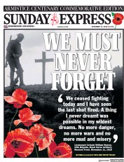 Daily Express Sunday (UK) Newspaper Front Page for 11 November 2018