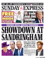 Daily Express Sunday (UK) Newspaper Front Page for 12 January 2020