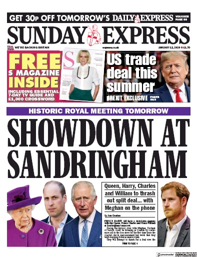 Daily Express Sunday Newspaper Front Page (UK) for 12 January 2020