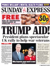 Daily Express Sunday (UK) Newspaper Front Page for 12 February 2017