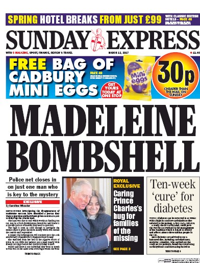 Daily Express Sunday Newspaper Front Page (UK) for 12 March 2017