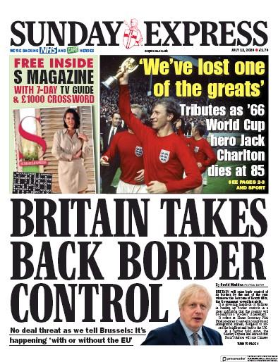 Daily Express Sunday Newspaper Front Page (UK) for 12 July 2020