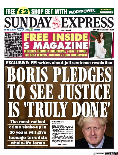 Daily Express Sunday Newspaper Front Page (UK) for 13 September 2020