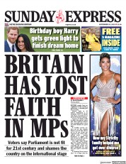 Daily Express Sunday () Newspaper Front Page for 15 September 2019
