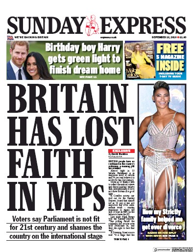 Daily Express Sunday Newspaper Front Page (UK) for 15 September 2019