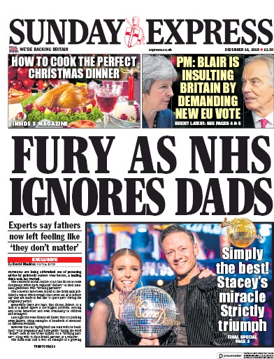 Daily Express Sunday Newspaper Front Page (UK) for 16 December 2018