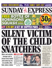 Daily Express Sunday (UK) Newspaper Front Page for 16 July 2017
