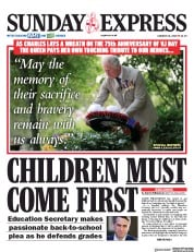 Daily Express Sunday front page for 16 August 2020