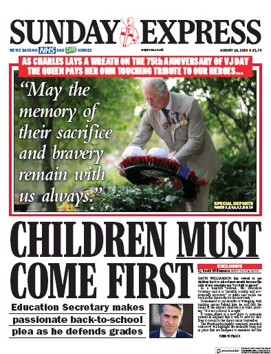 Daily Express Sunday Newspaper Front Page (UK) for 16 August 2020