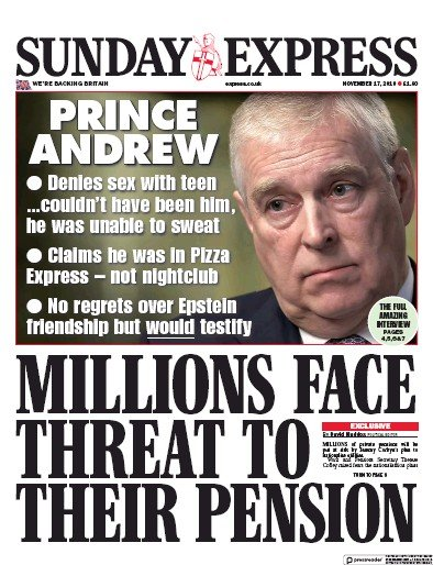 Daily Express Sunday Newspaper Front Page (UK) for 17 November 2019