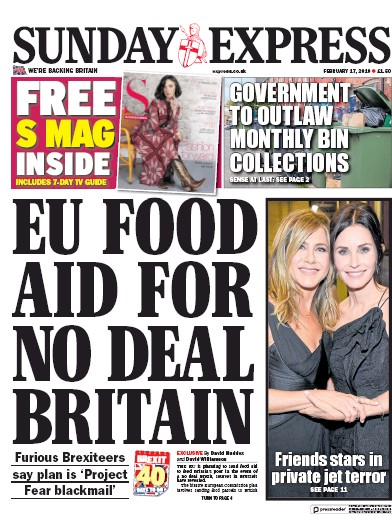 Daily Express Sunday Newspaper Front Page (UK) for 17 February 2019