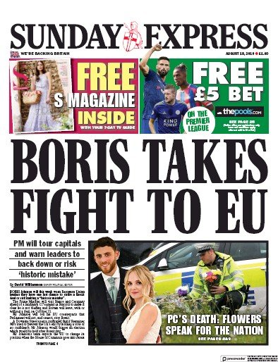 Daily Express Sunday Newspaper Front Page (UK) for 18 August 2019
