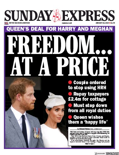 Daily Express Sunday Newspaper Front Page (UK) for 19 January 2020