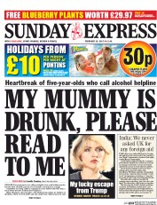Daily Express Sunday (UK) Newspaper Front Page for 19 February 2017