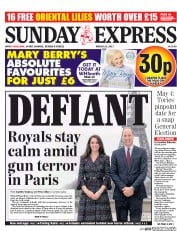 Daily Express Sunday (UK) Newspaper Front Page for 19 March 2017