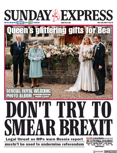 Daily Express Sunday Newspaper Front Page (UK) for 19 July 2020