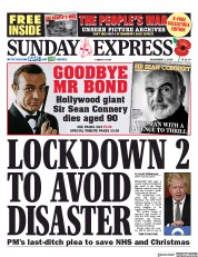 Daily Express Sunday front page for 1 November 2020