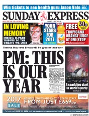 Daily Express Sunday (UK) Newspaper Front Page for 1 January 2017