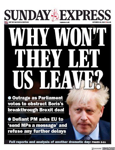 Daily Express Sunday Newspaper Front Page (UK) for 20 October 2019
