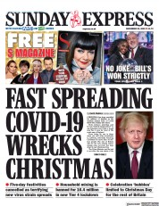 Daily Express Sunday front page for 20 December 2020