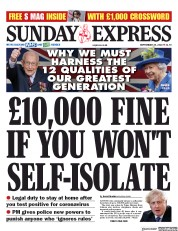 Daily Express Sunday front page for 20 September 2020