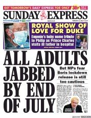 Daily Express Sunday front page for 21 February 2021