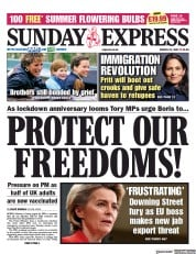 Daily Express Sunday front page for 21 March 2021