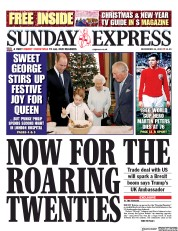 Daily Express Sunday () Newspaper Front Page for 22 December 2019
