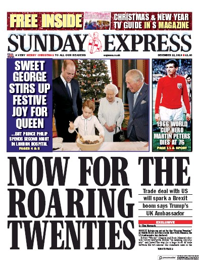Daily Express Sunday Newspaper Front Page (UK) for 22 December 2019