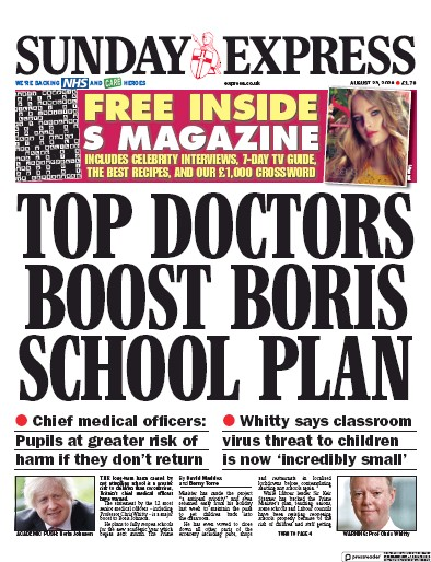 Daily Express Sunday Newspaper Front Page (UK) for 23 August 2020