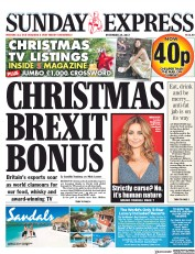 Daily Express Sunday (UK) Newspaper Front Page for 24 December 2017