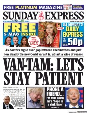 Daily Express Sunday front page for 24 January 2021