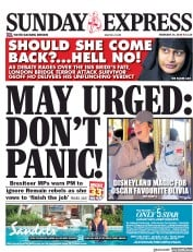 Daily Express Sunday () Newspaper Front Page for 24 February 2019