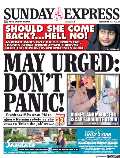 Daily Express Sunday Newspaper Front Page (UK) for 24 February 2019