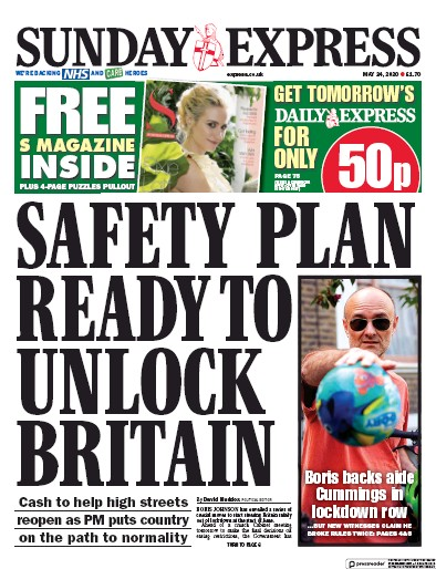 Daily Express Sunday Newspaper Front Page (UK) for 24 May 2020