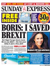 Daily Express Sunday (UK) Newspaper Front Page for 24 September 2017